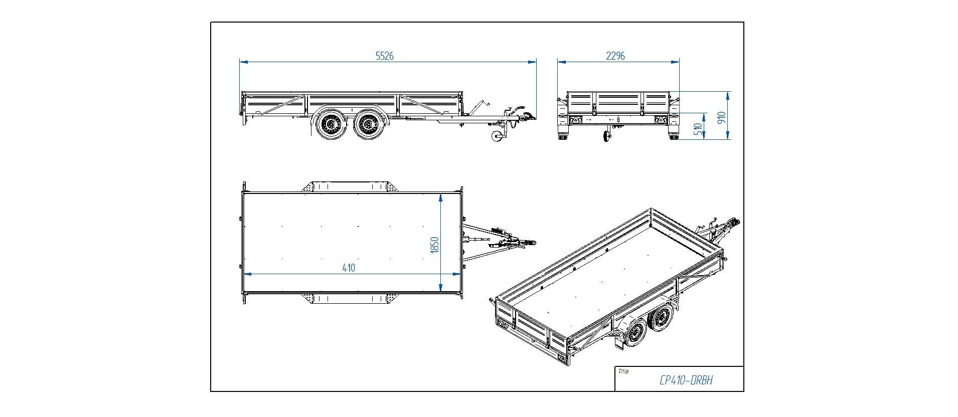 CP410-DRBH 2750kg  [Priekabų standartinė įranga gali skirtis nuo pavaizduotos komplektacijos paveiksliuke]